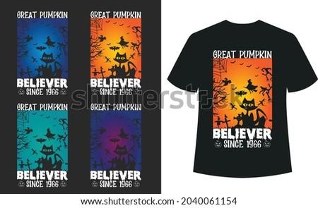 Great Pumpkin Believer Since 1966 Halloween T_shirt Typography Design Vector