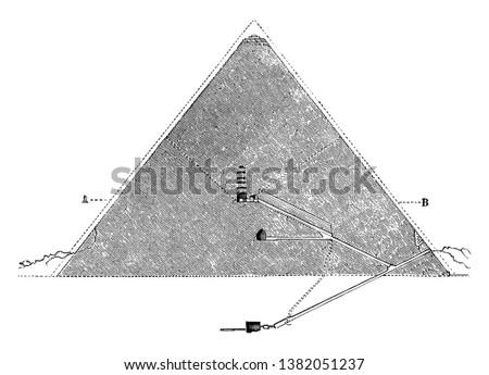 Great Pyramid of Giza, Cross Section,  Egyptian architecture, ghizeh, inside, interior, internal view, Khufu's Pyramid, pyramid of cheops, Pyramid of Khufu,  vintage line drawing or engraving