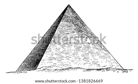 Great Pyramid of Giza, Egyptian architecture, ghizeh, Khufu's Pyramid, pyramid of cheops, Pyramid of Khufu,  vintage line drawing or engraving illustration.