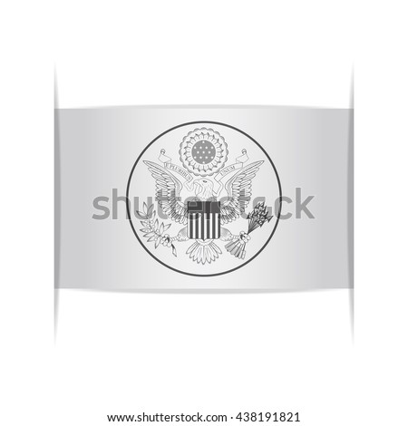 Great Seal of the United States. Vector illustration of a stylized seal. The slit in the paper with shadows. Element for infographics.