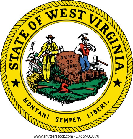Great Seal of US Federal State of West Virginia (The Mountain State)