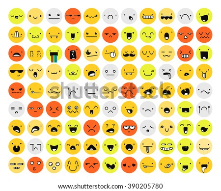 Great set 99 color emotion isolated on white. Emoji set. Anger and compassion. Laughter and tears. Smile and sadness. Sadness and surprise. Happiness and fear. Emotions for Web development.