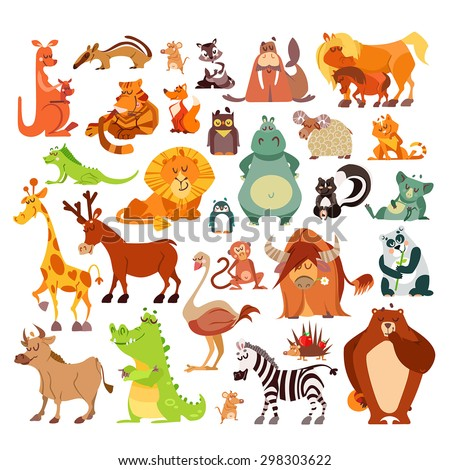 Great set of cartoon animals, birds from around the world. African animals,forest animals as signs,icons,design elements.Vector illustrations isolated on white background. Education, kid design