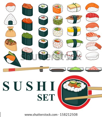 Great set of various different types of sushi isolated on white background