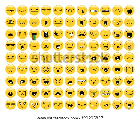 great set of 99 yellow emotion