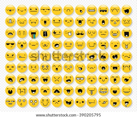great set of 99 yellow emotions
