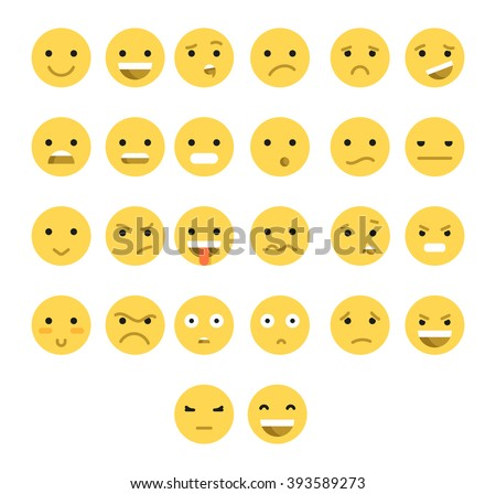 great set of 26 yellow emotions