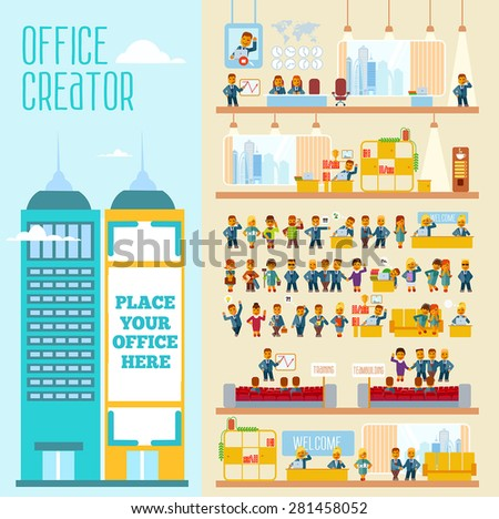 Great set with office people their emotions for Design your own office