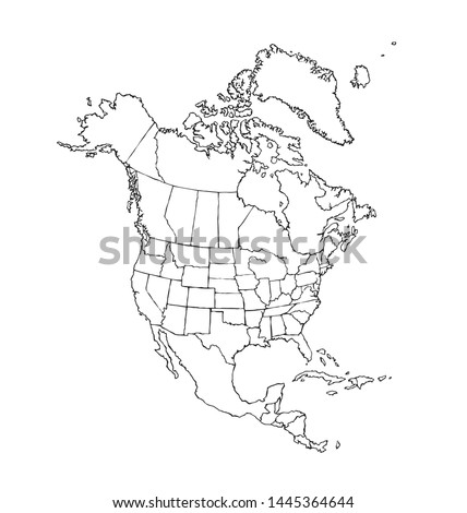 Great social physical US republic zone shape on white backdrop. Freehand line black ink hand drawn web global planet logo emblem pictogram frame in art modern grunge doodle cartoon style pen on paper