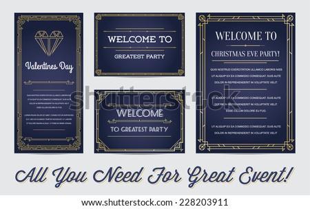 Art deco wedding invitation vector download free vector art great style invitation in art deco or nouveau epoch 1920s gangster era boardwalk empire vector set stopboris Image collections