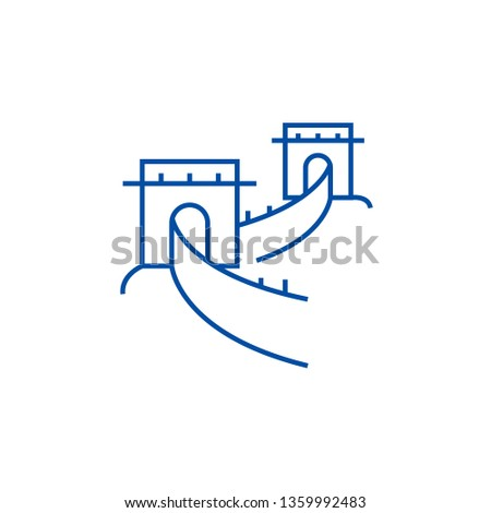 great wall china line icon