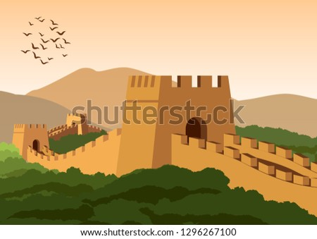 great wall,famous landmark and heritage of the world and china,vintage color,vector illustration