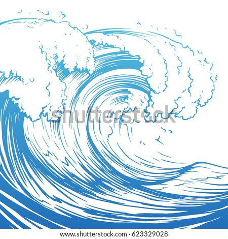 Great wave hand drawing illustration