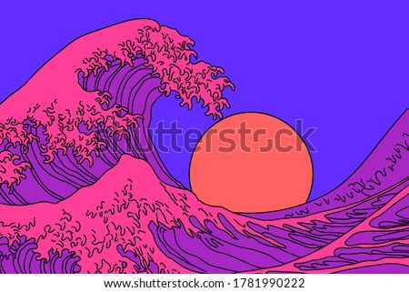 great wave in vaporwave pop art