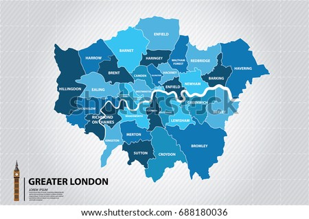 Greater London map showing all boroughs. Big Ben,The icons of England  Сток-фото ©
