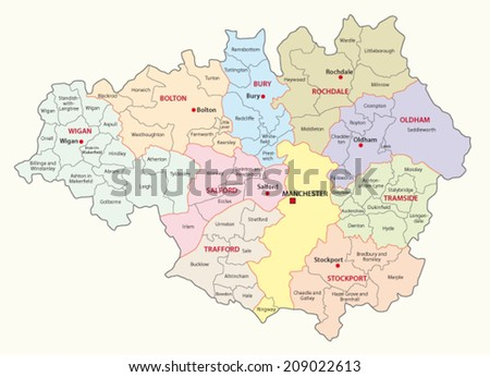 greater manchester county map