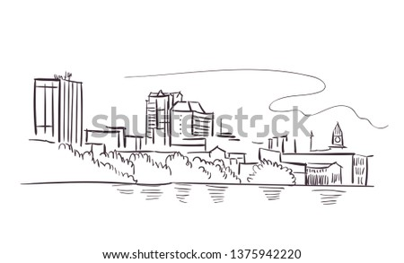Greater Manchester usa America vector sketch city illustration line art