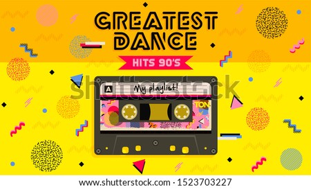 Greatest dance hits. Music mix. Retro aesthetic style party invitation card. Fashion background. 90's, eighties graphic. Music party. Vintage poster, banner. Aesthetic graphic  design. Audio Cassette.