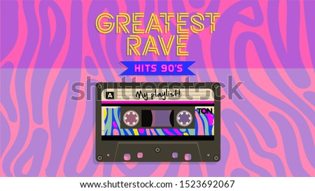 Greatest rave music mix. Retro style aesthetic party invitation card. Fashion background. 90's, eighties graphic. Rave music party. Vintage poster, banner. Aesthetic graphic  design. Audio Cassette.