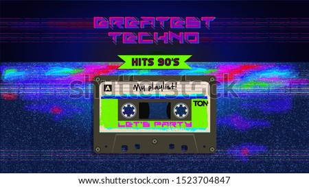 Greatest techno hits. Music mix. Retro aesthetic style party invitation card. Fashion background. 90's, eighties graphic. Music party. Vintage poster, banner. Aesthetic graphic  design. Audio Cassette