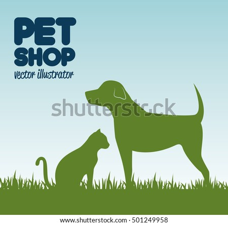 gree silhouette dog cat and