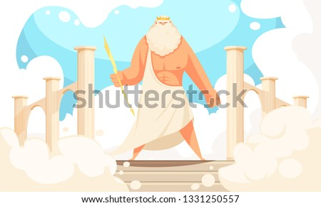 Greece ancient gods flat cartoon image of powerful mythological zeus prominent figure in pantheon background vector illustration