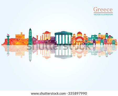 greece detailed skyline vector