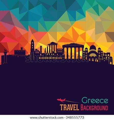 greece detailed skyline vector
