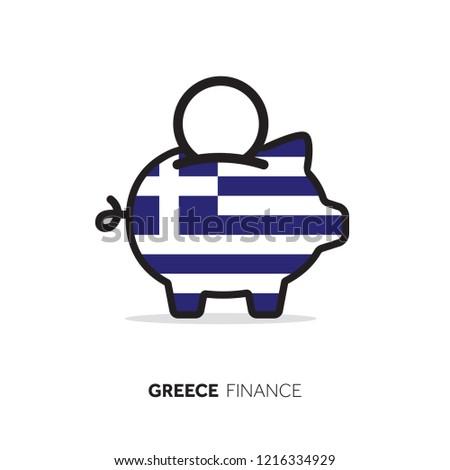 Greece economic concept. Piggy bank with national flag.