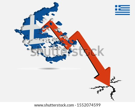 Greece economic crisis concept Vector illustration
