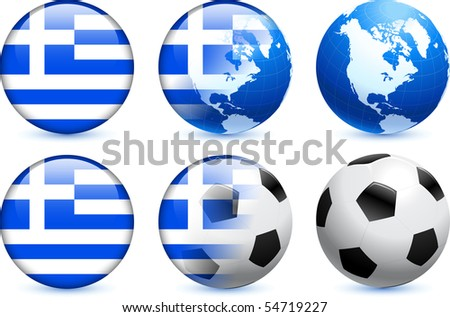 Greece Flag Button with Global Soccer Event Original Illustration