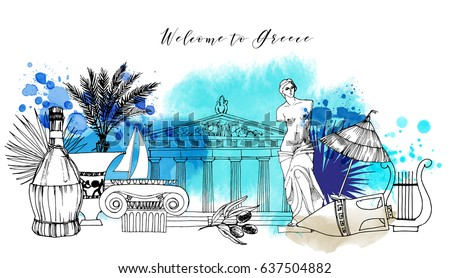 greece hand drawn vector
