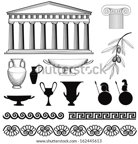 greece icon set arch  seamless