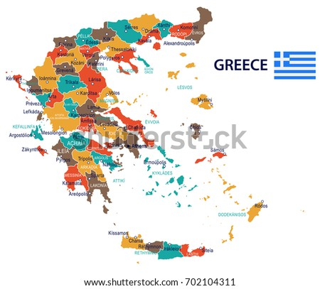 greece map and flag   vector