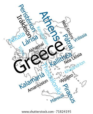 Greece map and words cloud with larger cities