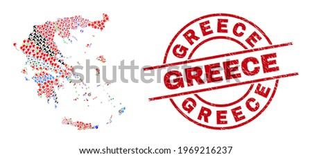 Greece map collage and distress Greece red circle badge. Greece seal uses vector lines and arcs. Greece map collage contains markers, homes, screwdrivers, suns, stars, and more pictograms.