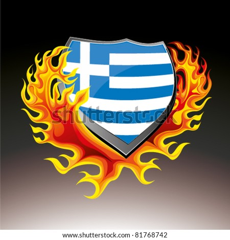 greece shield in flame