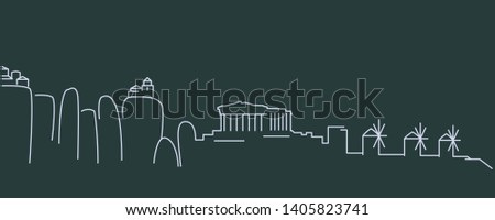 greece simple line skyline and