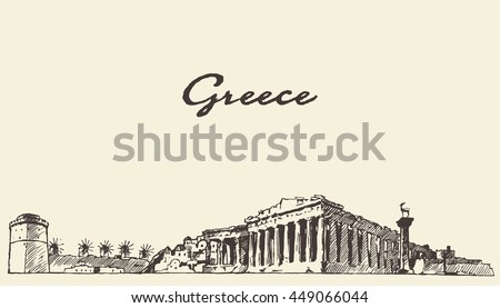 greece skyline  vintage...