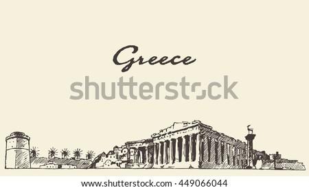 Greece skyline, vintage engraved illustration, hand drawn, sketch