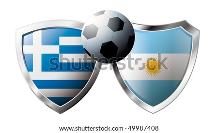 Greece versus Argentina abstract vector illustration isolated on white background.  Shiny football shield of flag Greece versus Argentina