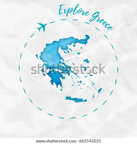 Greece watercolor map in turquoise colors. Explore Greece poster with airplane trace and handpainted watercolor Greece map on crumpled paper. Vector illustration.