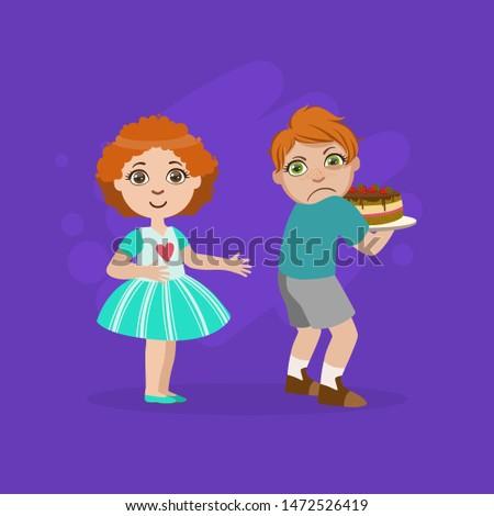 Greedy Boy Not Sharing Cake with Girl, Bad Behavior Vector Illustration