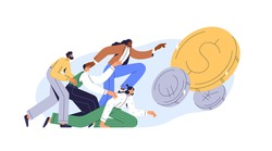 Greedy people chasing for big money. Cash race concept. Competitors striving for richness and wealth. Characters running to hit jackpot. Colored flat vector illustration isolated on white background