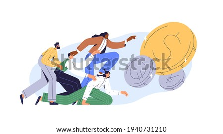 Greedy people chasing for big money. Cash race concept. Competitors striving for richness and wealth. Characters running to hit jackpot. Colored flat vector illustration isolated on white background Сток-фото ©