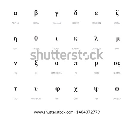 Greek Alphabet and Symbols vector illustration
