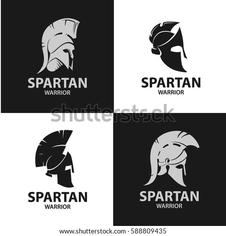 Greek and Roman warriors helmets. Silhouettes of gladiatorial combat hats. Isolated Spartan soldiers' helmets.
