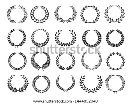 Greek branch. Circle victory award wreath with leaves vector elleents for emblems labels. Branch laurel wreath, emblem floral victory illustration