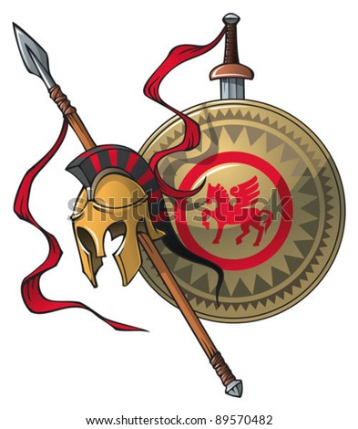 Greek coat of arms: helmet, spear, sword and shield, vector illustration