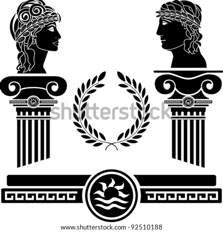 greek columns and human heads. vector illustration